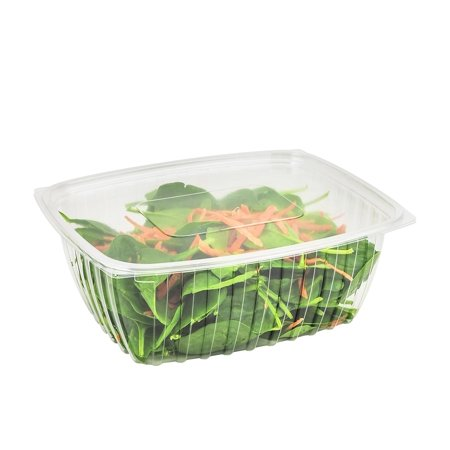 Dart C48DER, 48-Ounce ClearPac Clear Rectangular Plastic Container With Clear Flat Lid, Take Out Salad Deli Fruit Food Disposable Containers