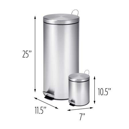 Honey Can Do 30l And 3l Stainless Steel Step Trash Combo Round