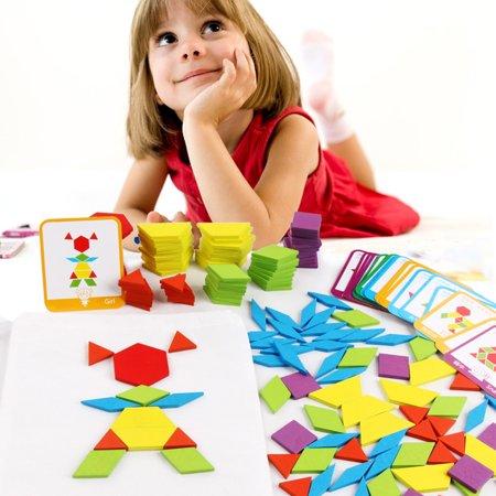 155PCS motif en bois bloc forme géométrique créative puzzle jouet jouet éducatif - image 6 de 10