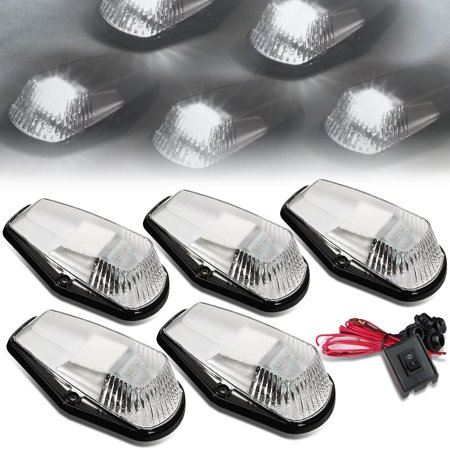 For 80-96 Ford F150-F450 5 X LED Cab Roof Top Lights + Wiring Harness + Switch (Chrome Housing White Lens) 92 93 94 95