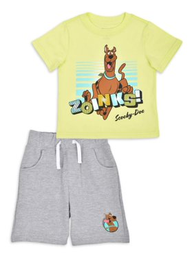Scooby Doo Baby Toddler Boys Short Sleeve T-shirts & Knit Shorts, 2-Piece Outfit Sets