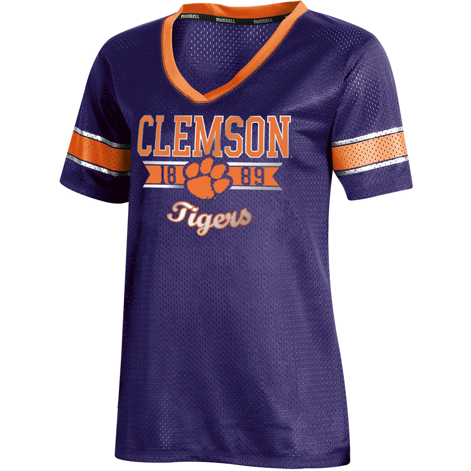 Women's Russell Purple Clemson Tigers Fashion Jersey V-Neck T-Shirt