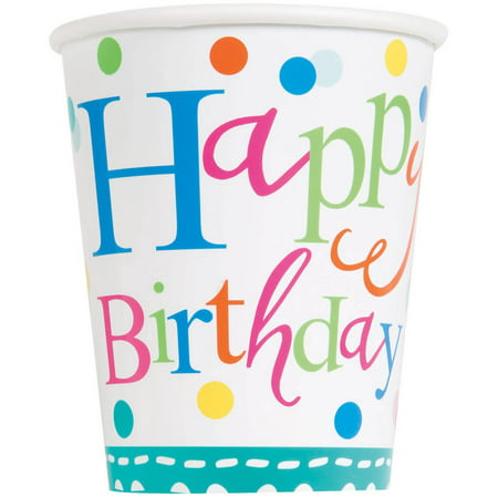 9oz Paper Confetti Cake Birthday Cups, 8ct