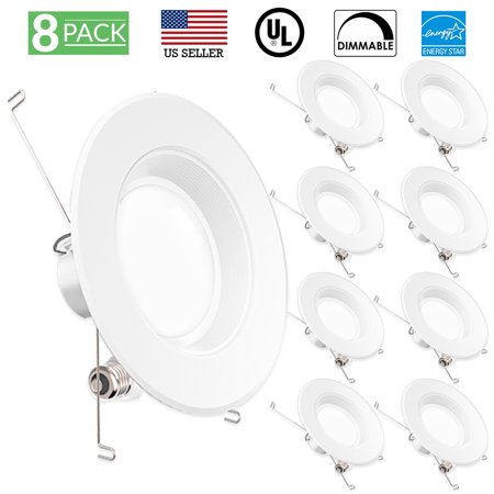 Sunco Lighting 8 Pack 5 / 6 Inch Baffle Recessed Retrofit Kit LED Light Fixture, 13W (75W Replacement), 3000K Kelvin Warm White, 965 Lumen, Dimmable, Quick/Easy Can Install, Damp