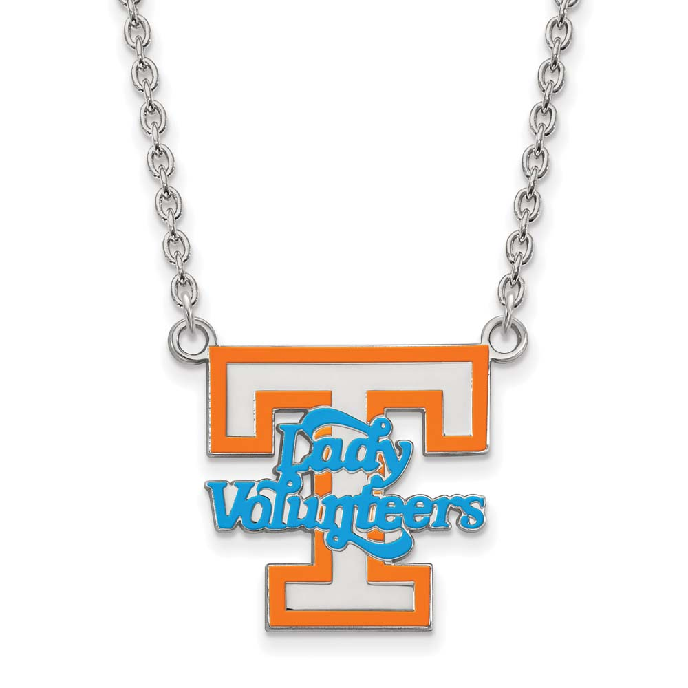 Tennessee Large (3/4 Inch) Enamel Pendant w/Necklace (Sterling Silver)