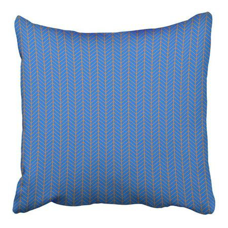 CMFUN Gray Blur Triangle Dark Orange and Dodger Blue Arrow Chevron Herringbone Brush Pillowcase Cushion Cover 20x20 inch
