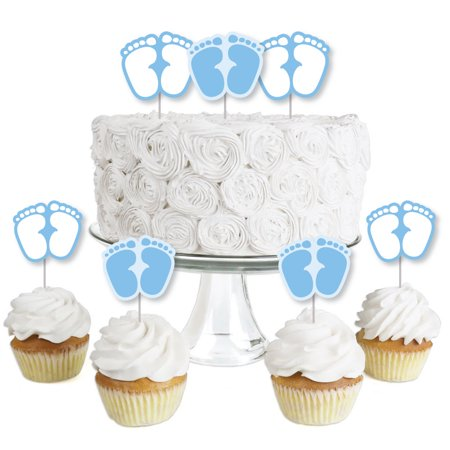Baby Feet Blue - Dessert Cupcake Toppers - Boy Baby Shower Clear Treat Picks - Set of 24 - Baby Boy Cupcake Toppers