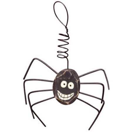 Happy Spider Wooden Ornament Curly Wire Hanger Country Primitive Halloween - Primitive Halloween Crafts Pinterest