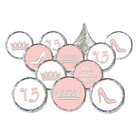 Themes For Sweet 15 (Quinceanera Party Favor Stickers, 324ct - Sweet 15 Princess Crowns Quinceanera Party Favors Pink Decorations - 324 Count)