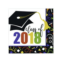 Bold Class of 2018 Graduation Paper Luncheon Napkins, 6.5 in, 24ct