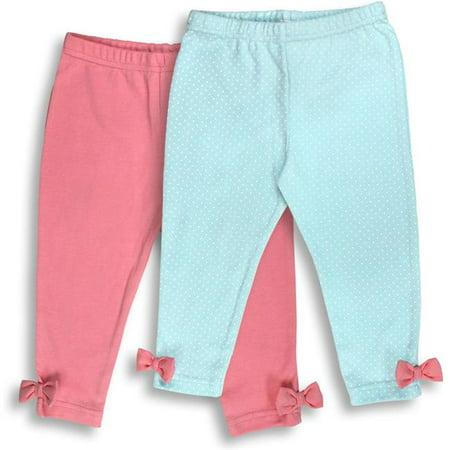 092G-2-12 2 Piece Pink & Aqua Girls Leggings, Dots Print - 9-12 Months