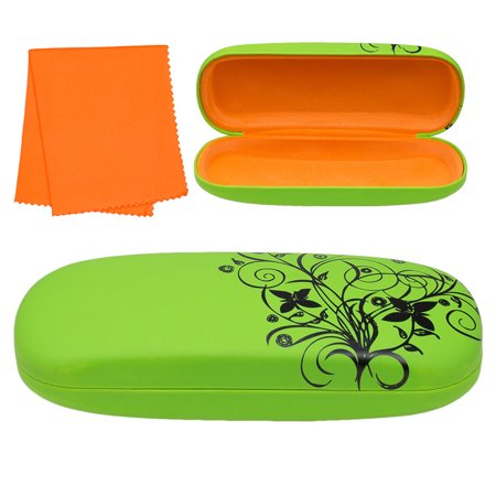 Glasses Eyeglasses Sunglasses Shell (Hard Shell Eyeglass Case, Protective Case for Glasses and Sunglasses with Cleaning Cloth and Floral Design, Green, by Optiplix )
