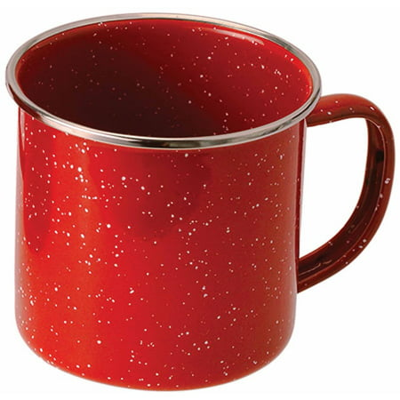 GSI Outdoors Stainless Steel Rim Enamelware Cup, Red