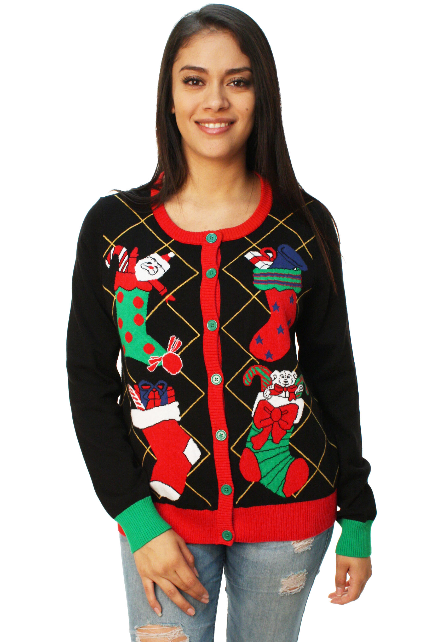 Ugly Christmas Sweater Women S Stuffed Stocking Cardigan Sweater