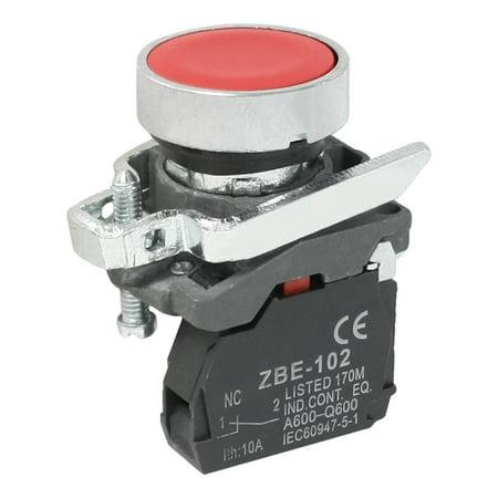 – Casquette rouge 1 NC 2-Terminal du commutateur de bouton 6 A AC 240 V zbe-102 SPST - image 1 de 1