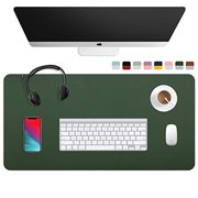 "WAYBER Dual Sided Desk Pad (31.5 x 15.7""), Waterproof Leather Office Desk Mat, PU Mouse Pad, Desk Cover Protector, Desk Writing Mat for Office/Home/Work/Cubicle (Green/Gray)"