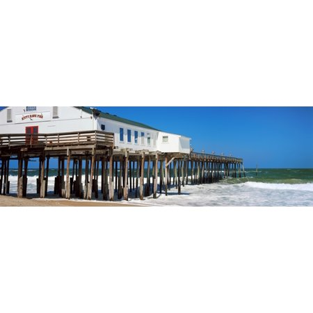 Kitty Hawk Pier On The Beach Kitty Hawk Dare County Outer Banks North Carolina Usa Canvas Art   Panoramic Images  27 X 9