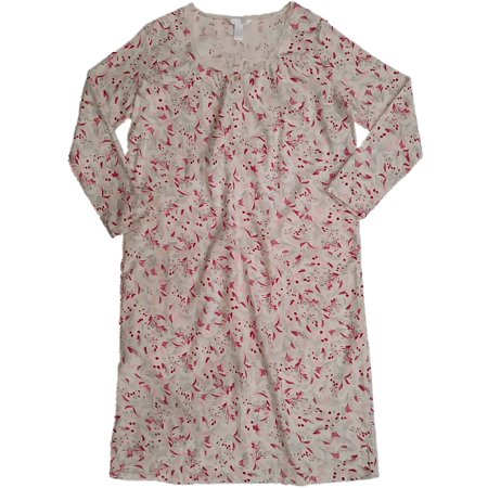 Womens Cream Red Pink Grass Floral Print Nightgown Flannel Sleep Shirt