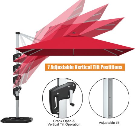 Gymax 10 Ft Square Offset Hanging Patio Umbrella 360 Degree Tilt Brick Red - image 7 of 10