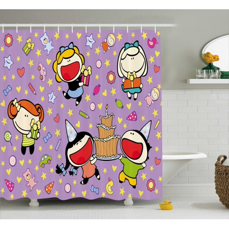 Birthday Decorations For Kids Shower Curtain Happy Children Cake Presents Bears Stars On Purple Backdrop