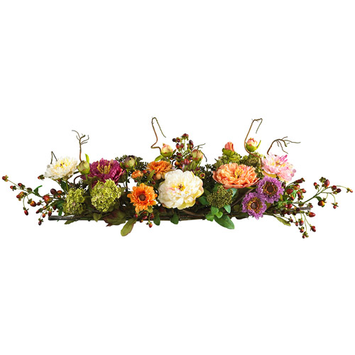 Nearly Natural Mixed Peony Centerpiece Silk Flower Arrangement