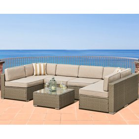 Marvelous Solaura Outdoor 5 Piece Sectional Furniture Patio Half Moon Set Gray Sofa Nautical Navy Blue Cushions Sophisticated Glass Coffee Table Ibusinesslaw Wood Chair Design Ideas Ibusinesslaworg