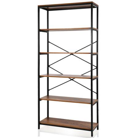 5-tier Wooden Bookcase Storage Shelves Organizer, Retro Bookshelf Plant Display Shelf, Wood and Steel Frame Open Wide for Balcony, Stud HFON ()