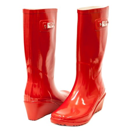 778b757ffbc Women Red Rubber Rain Boots, Wedge Heel Design w/ Cotton Lining