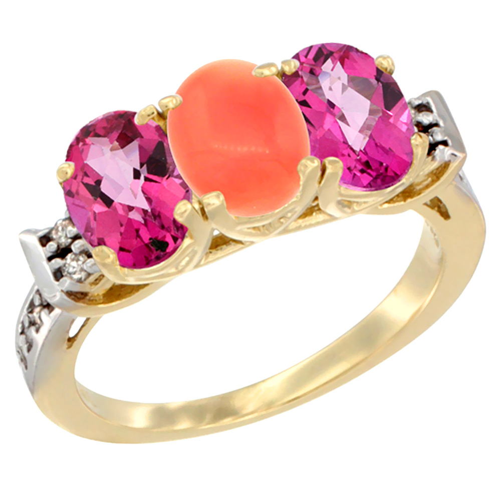 14K Yellow Gold Natural Coral & Pink Topaz Sides Ring 3-Stone Oval 7x5 mm Diamond Accent, sizes 5 10 by WorldJewels