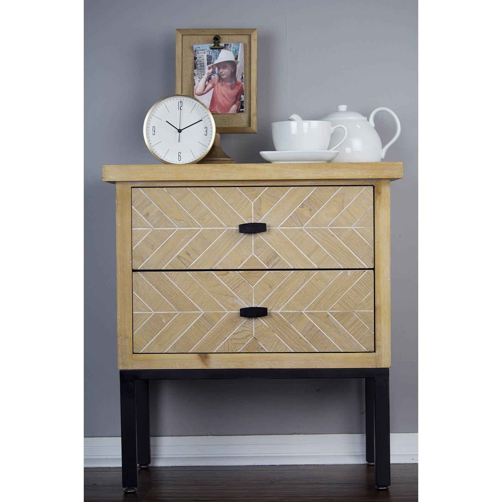 Heather Ann Creations Urban 2 Drawer Parquet Accent Cabinet