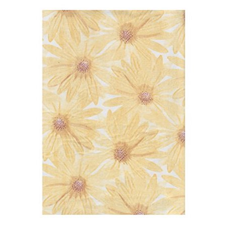 Yellow Daisy Floral Print Vinyl Tablecloth Flannel Backed (70 Round)