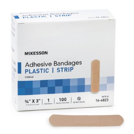 Strip Plastic Bandages (mckesson adhesive strip .75'' x 3'' plastic, rectangle, tan, sterile, box of 100)