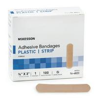 McKesson Plastic Adhesive Strip 16-4823, 0.75 x 3 Inch, Box of 100, Tan