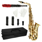 SalonMore Students Beginner Alto Eb Saxophone Sax Kit with Accessories,Gold