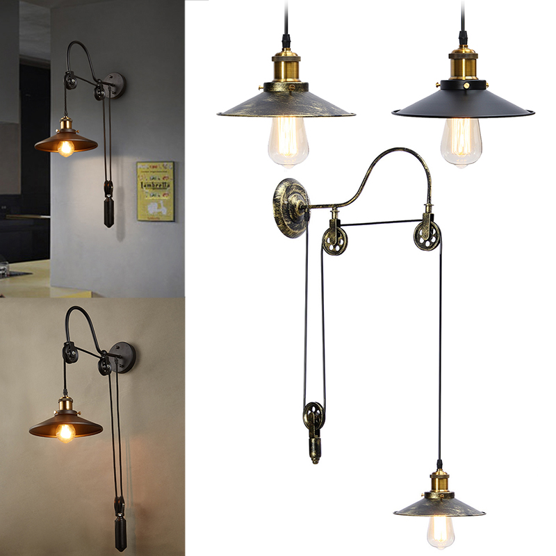 Vintage Hanging Ceiling Light Pendant Industrial Retro Retractable Pulley Lamp