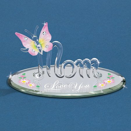 - Mom Butterfly Love You Glass Figurine Religious Baptism/christening/communion For Women
