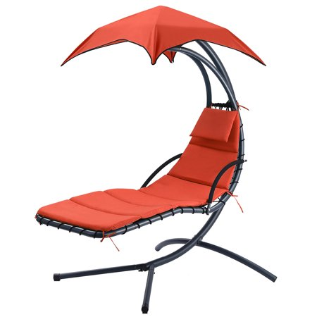 Finether Hammock Chair Swing with Arc Stand, Canopy and Cushion for Patio Beach Bedroom Yard Garden, Nail polish included for Scratch Repair, Orange ()