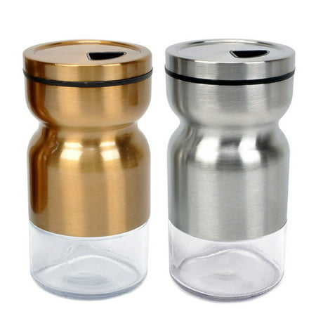Salt Pepper Shakers Stainless Steel Cover Glass Bottom With