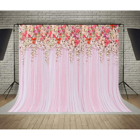 GreenDecor 7x5ft Wedding Ceremony Photo Backdrops Colorful Flowers Pink Lace Curtain Photography Background Photo Booth Background and](Photo Booth Curtains)