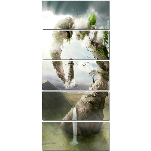 Design Art Magical Bridge to Lighthouse 5 Piece Wall Art on Wrapped Canvas Set