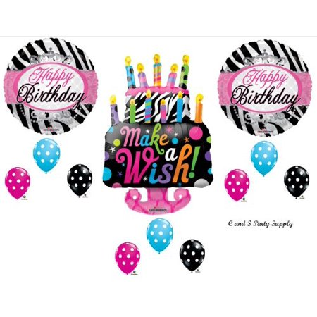 Zebra Cake Make A Wish BIRTHDAY PARTY Balloons Decorations Supplies 16th 13th Teenager Hippy
