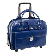 McKlein ROSEVILLE, Checkpoint-Friendly Detachable Wheeled Laptop Briefcase, Top Grain Cowhide Leather, Navy (96647)