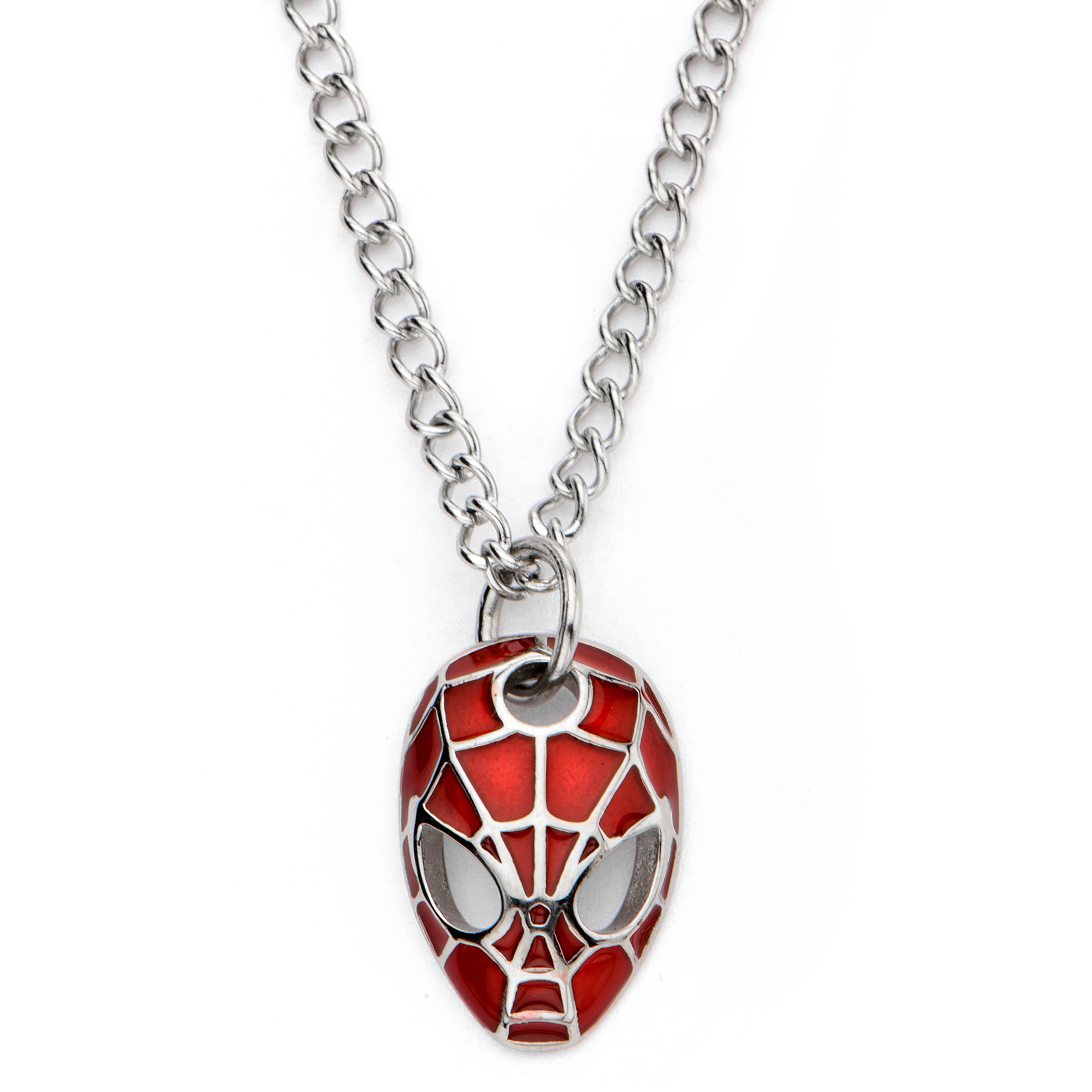 """Spider-Man Marvel Stainless Steel Youth Pendant, 16"""""""