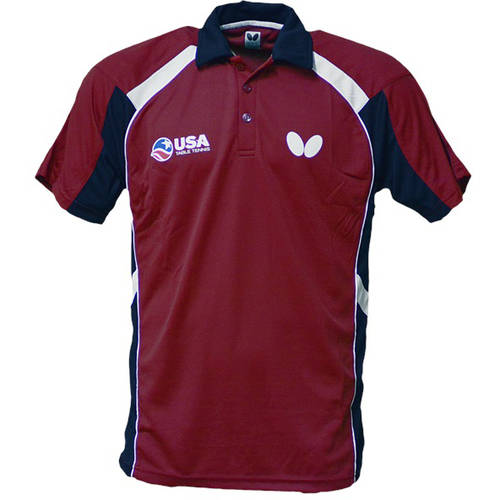 Butterfly USA Table Tennis Team Shirt Extra Small, Red