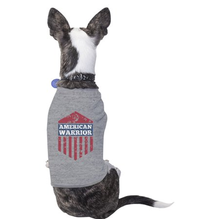 American Warrior Gray Cute Graphic Pets Shirt For Independence Day (Grey Warrior)