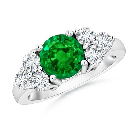 May Birthstone Ring - Round Emerald Solitaire Ring With Trio Diamonds in 14K White Gold (7mm Emerald) - SR0696E-WG-AAAA-7-10