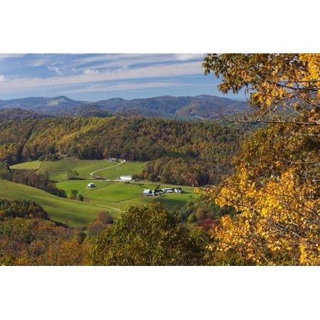 USA, North Carolina, Blowing Rock, Autumn Landscape Off of the Blue Ridge Parkway Print Wall Art By Walter Bibikow (North Carolina Blowing Rock)