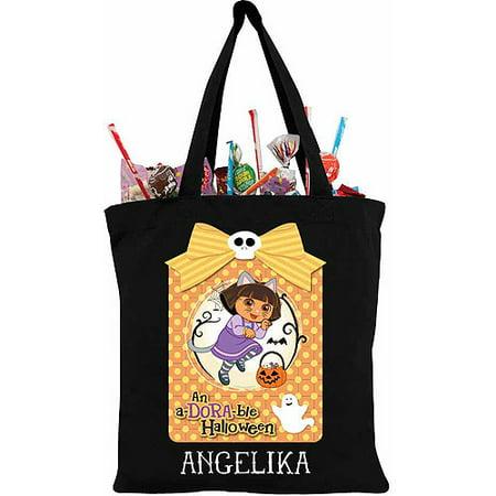 Personalized Dora the Explorer Adorable Halloween Black Trick-Or-Treat Bag