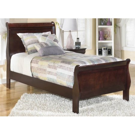 Twin Sleigh Bed in Dark Brown Finish (Dark Brown Bead)