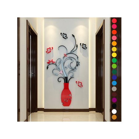 Lavaport 3D Flower Vase DIY Removable Wall Art Sticker Home Decal Mural Decor 3d Gel Stickers